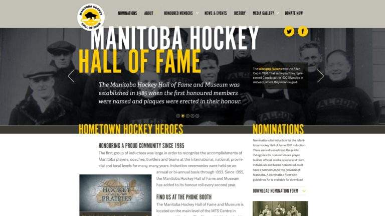 Manitoba Hockey Hall of Fame website's homepage