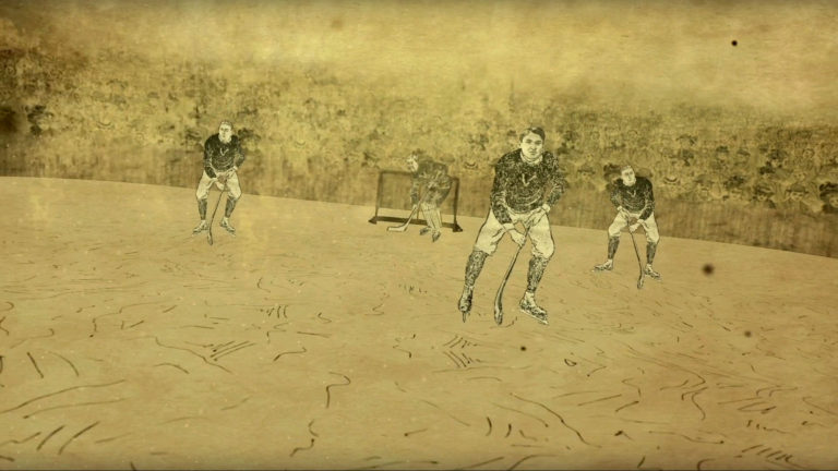Artistic drawing of ice hockey players