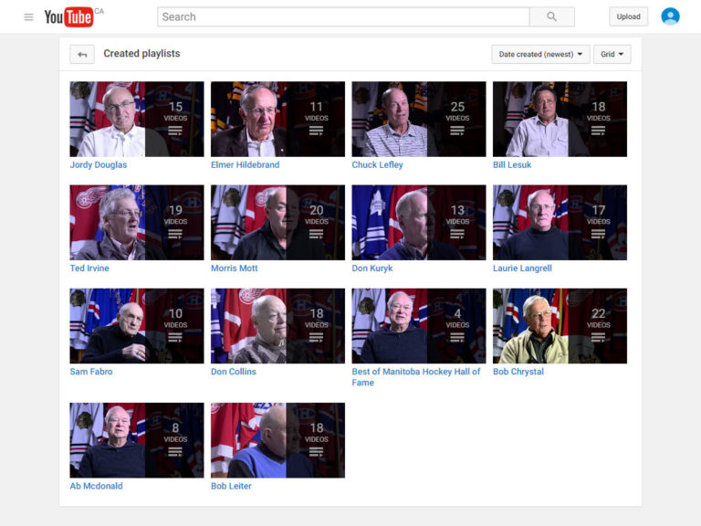 Interview video listing on MB HHOF YouTube channel