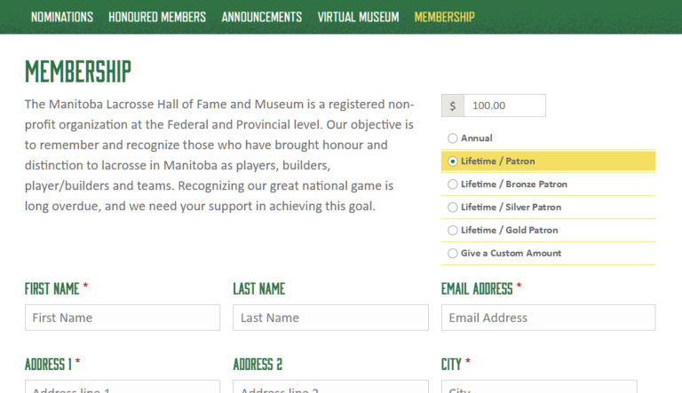 MB Lacrosse HoF membership form desktop view