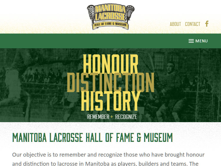 MB Lacrosse Hall of Fame website tablet view